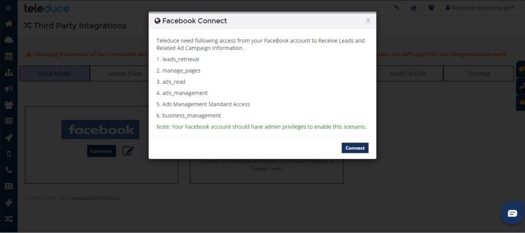 facebook sign in crm
