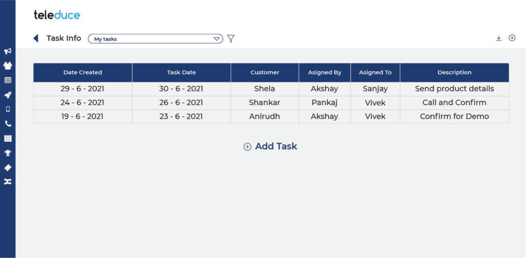 task feature in crm