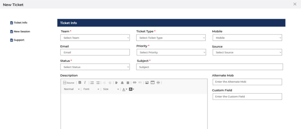 how to create ticket in support software